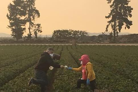 CAUSE distributing masks in the fields (photo from CAUSE)