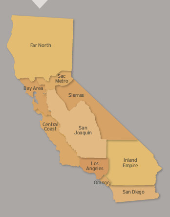"image of ten California regions used on ""Causes Count"" study."
