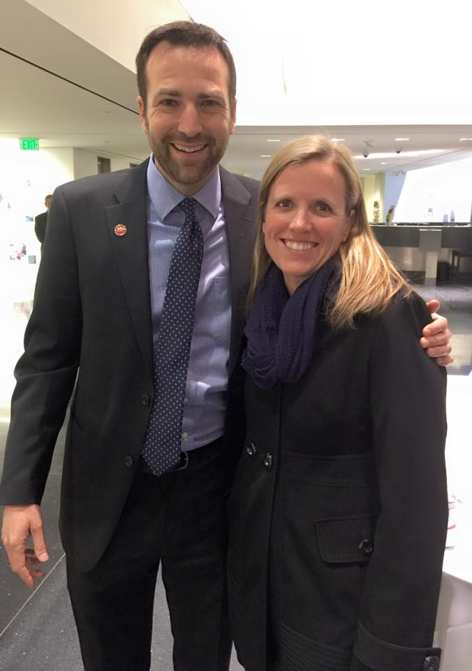 Jennifer is pictured here with new state senator Ben Allen, a Democrat from Santa Monica representing the 26th Senate District. Senator Allen sits on the board of The Spark Program, a non-profit organization that connects at-risk middle school students with apprenticeships.